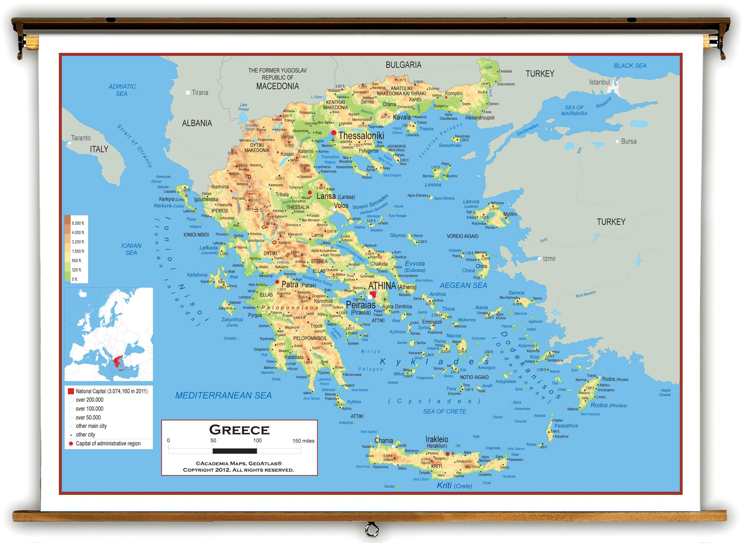 Greece physical map Physical map of Greece Southern Europe Europe