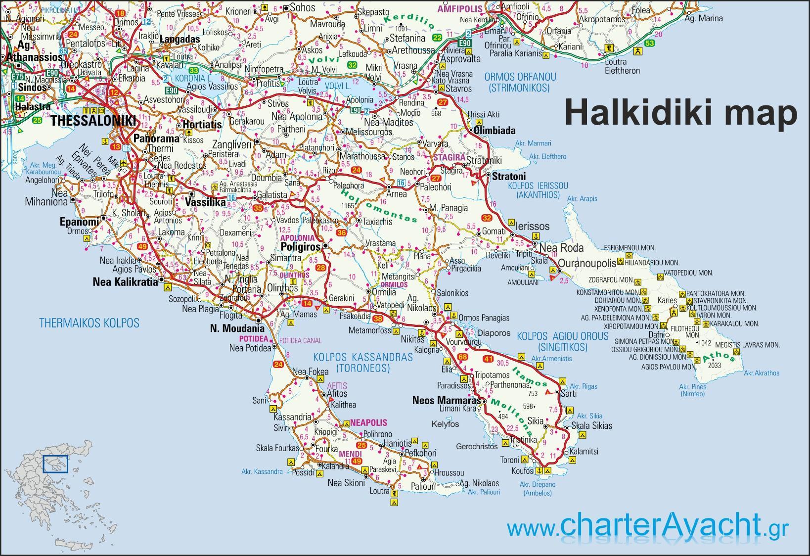 Halkidiki Greece Map Map Of Greece Halkidiki Southern Europe
