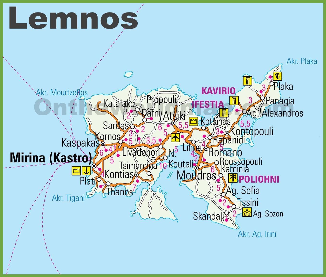 Lemnos Greece Map Lemnos Map Greece Southern Europe Europe