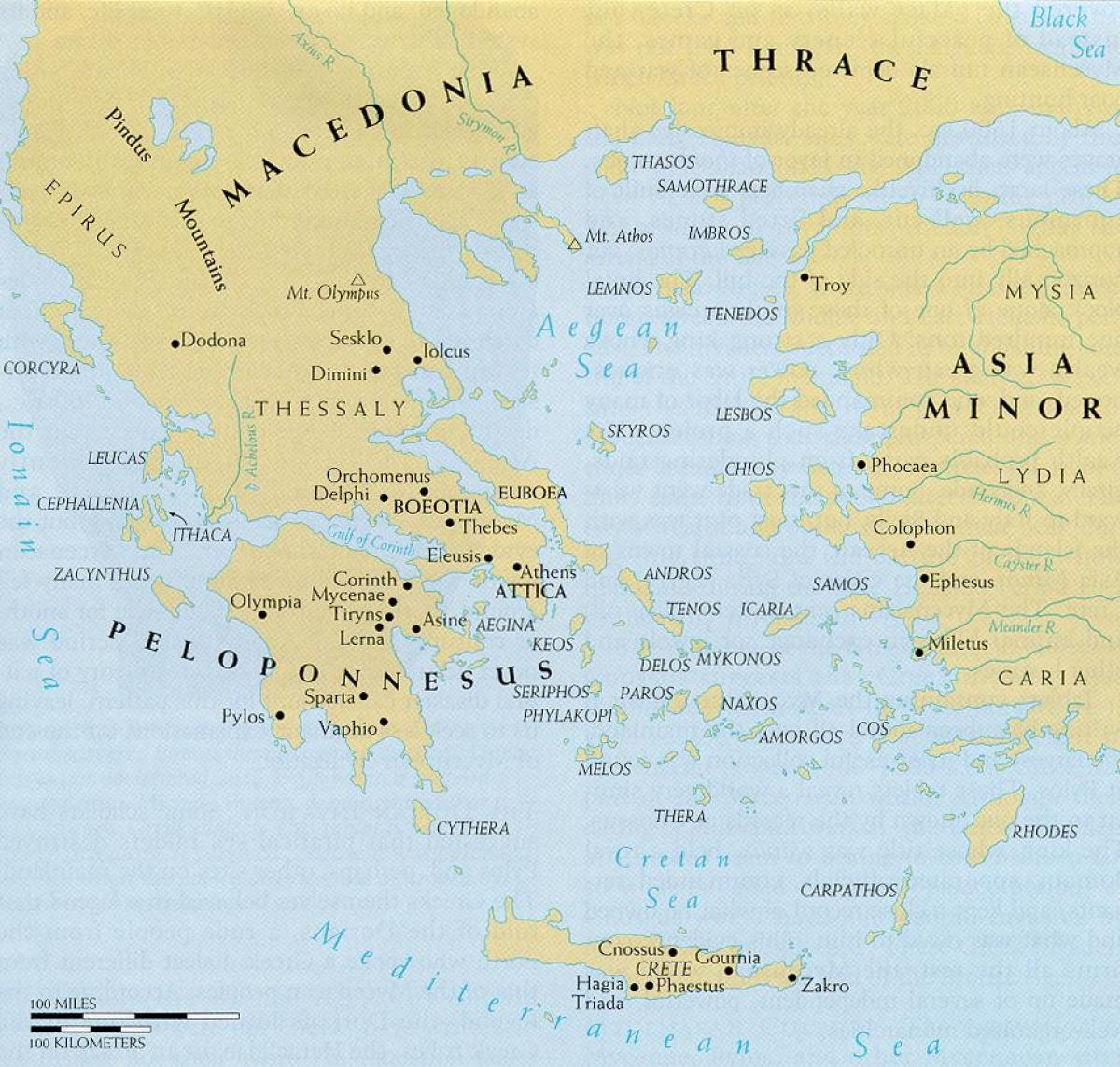 Ancient greece and aegean world map map of ancient greece and the map of ancient greece and the aegean world gumiabroncs Images