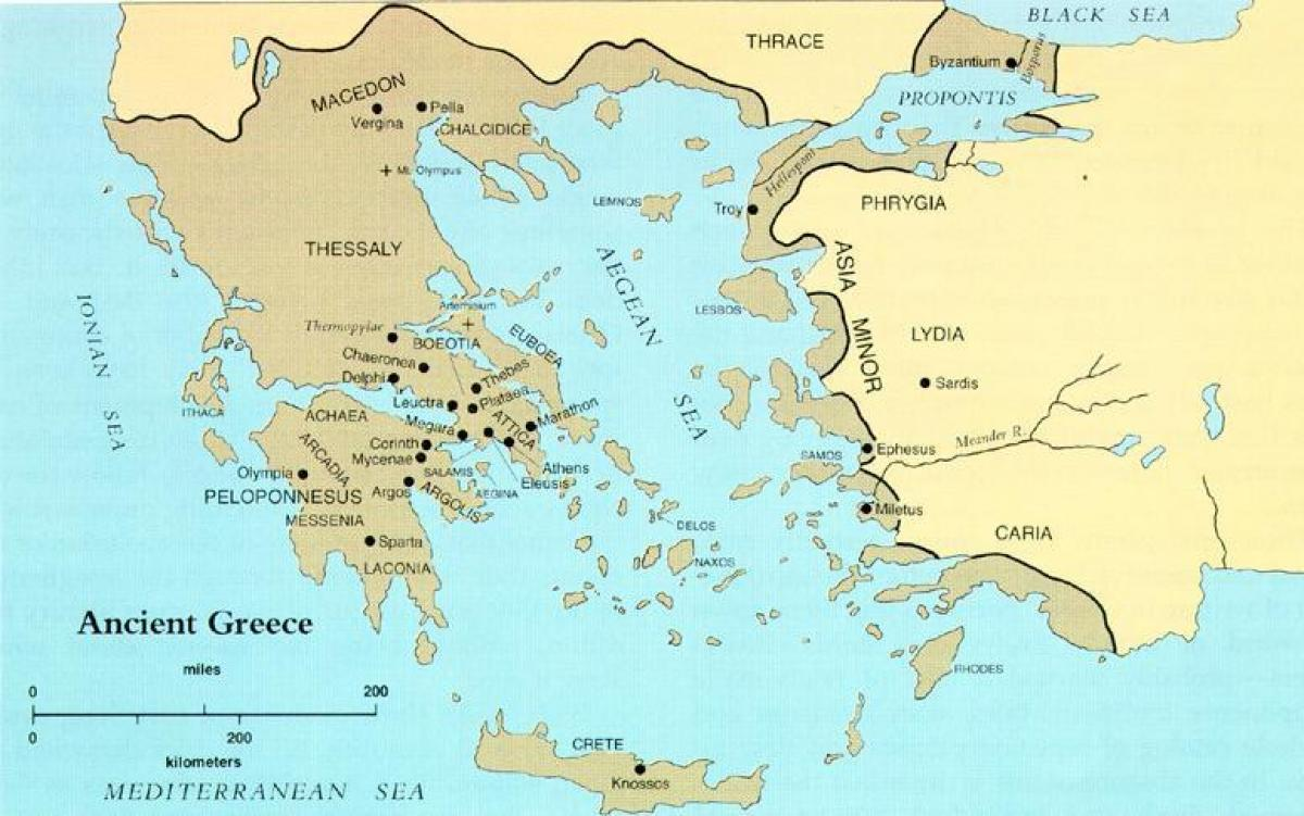 ancient Greece on a world map