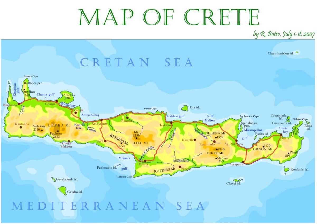 Crete Island Greece Map Crete Greece Map Island Southern