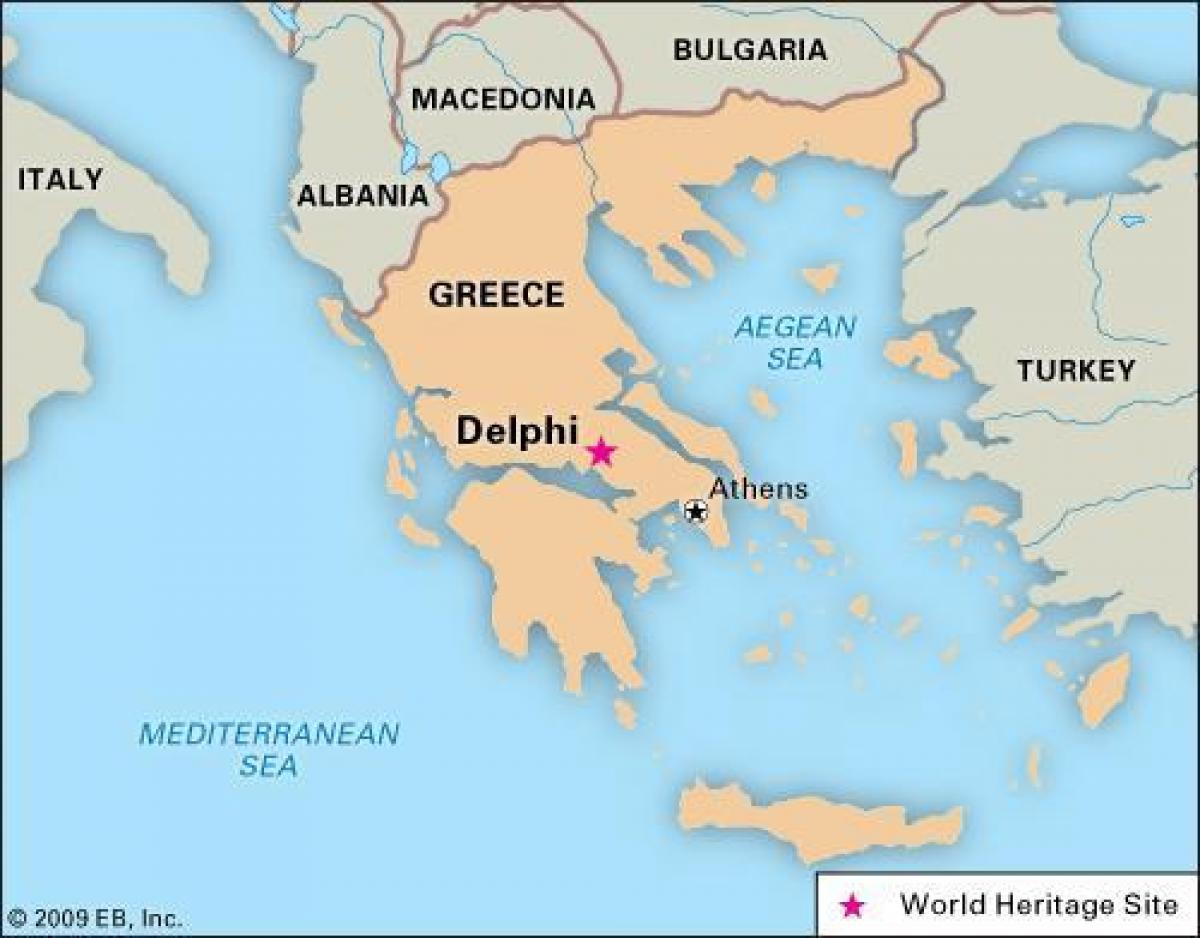 Delphi Greece map - Map of Greece Delphi (Southern Europe - Europe)