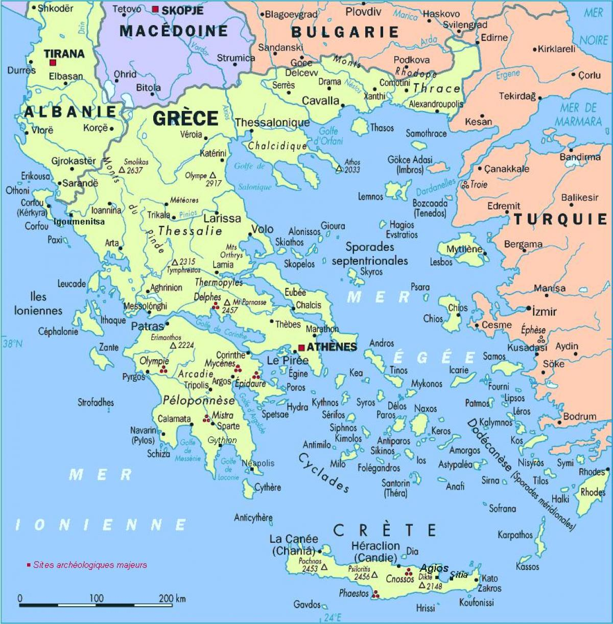 map of Greece with islands