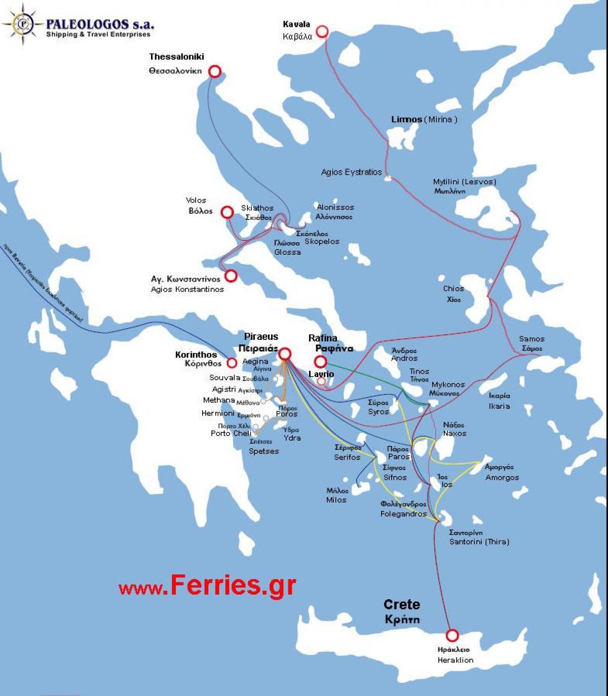 Greek Island Ferry Routes Map Map Of Greek Islands Ferry