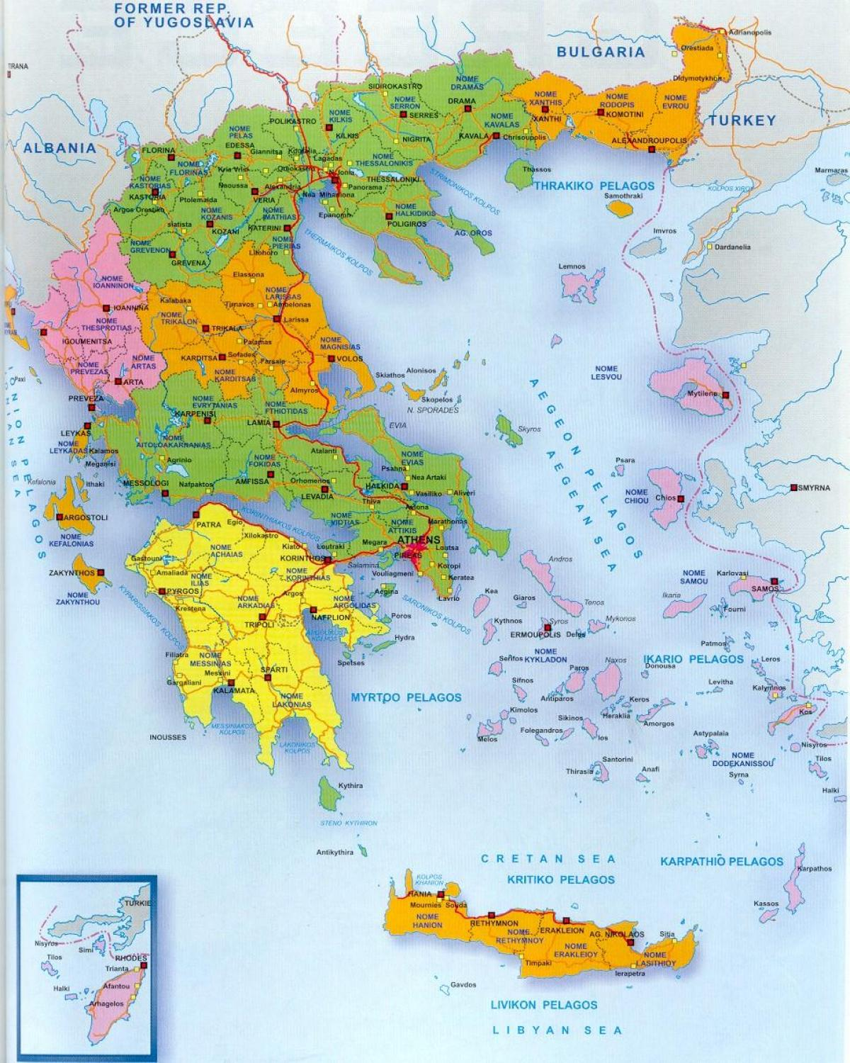 Greece on a map
