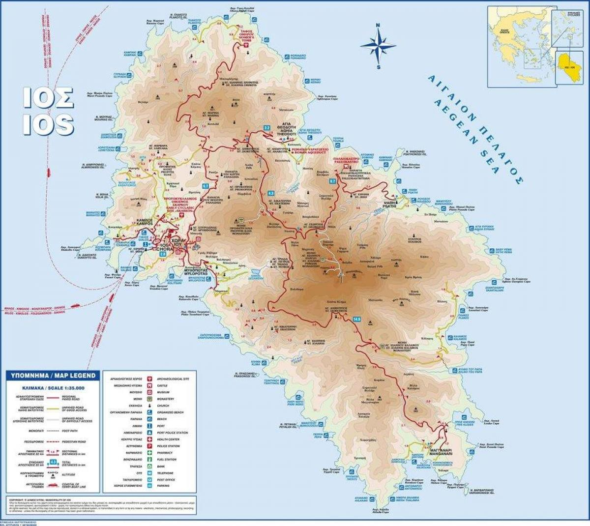 Ios Greece map Map of ios Greece Southern Europe Europe