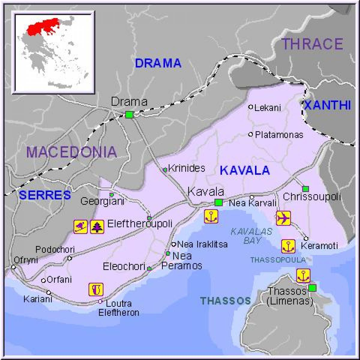 Kavala Greece map Map Kavala Greece Southern Europe Europe