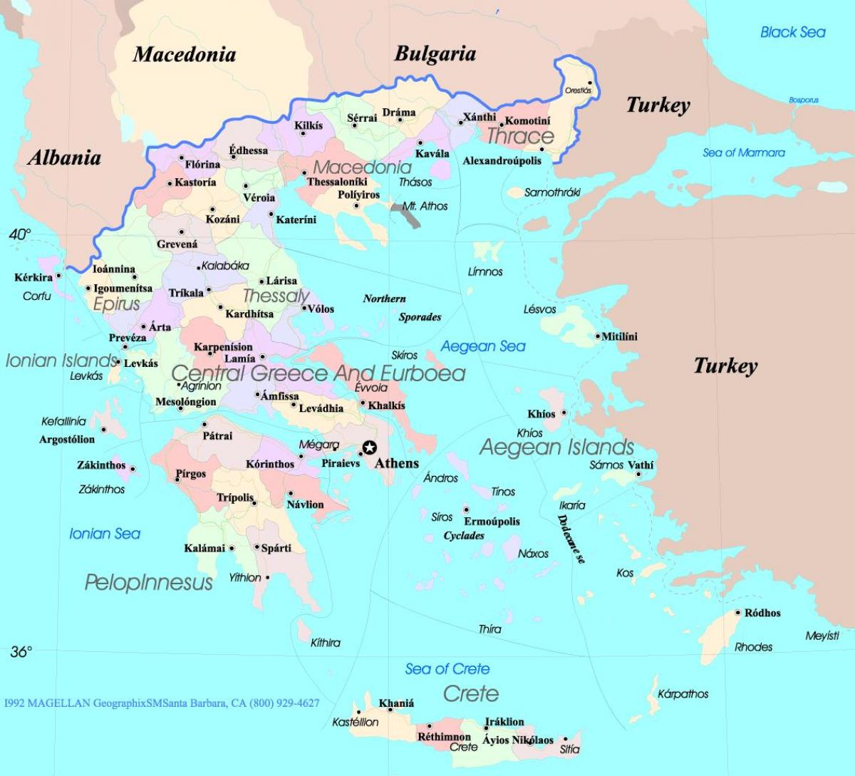 Greece map islands