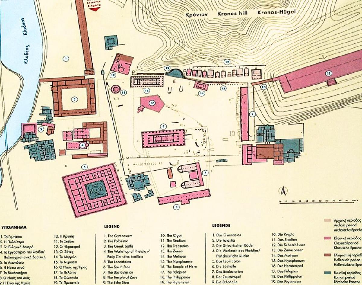 Ancient Greece Floor Plan Olympia Greece Map Map Of Olympia Greece Southern